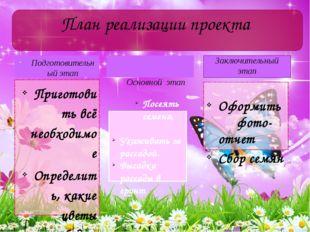 Подготовительный этап Приготовить всё необходимое Определить, какие цветы буд