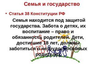 Статья 38 Конституции РФ Семья находится под защитой государства. Забота о де