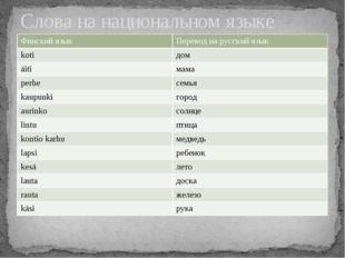 Слова на национальном языке Финский язык Переводна русский язык koti дом äiti