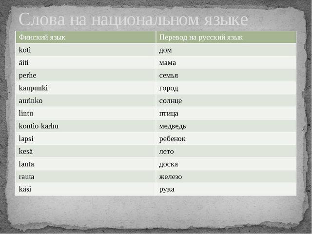 Слова на национальном языке Финский язык Переводна русский язык koti дом äiti...