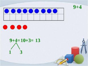 9+4= 1 3 10+3= 13 9+4
