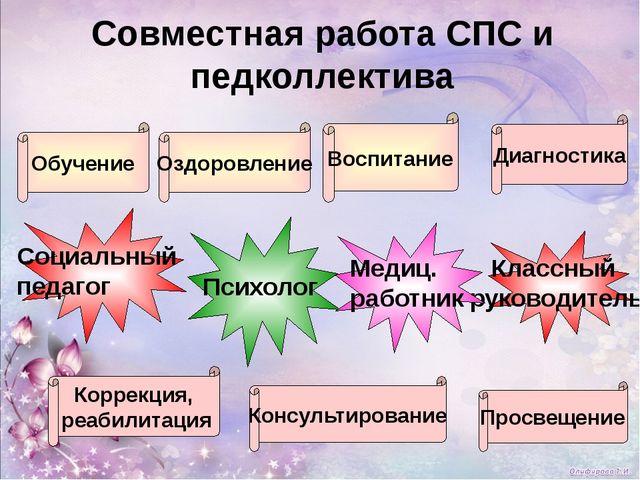 Социальный педагог Классный руководитель Психолог Медиц. работник Совместная...