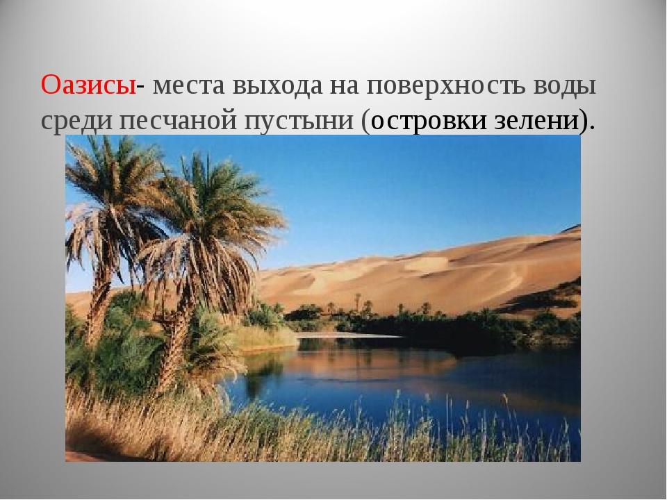Оазисы- места выхода на поверхность воды среди песчаной пустыни (островки зел...