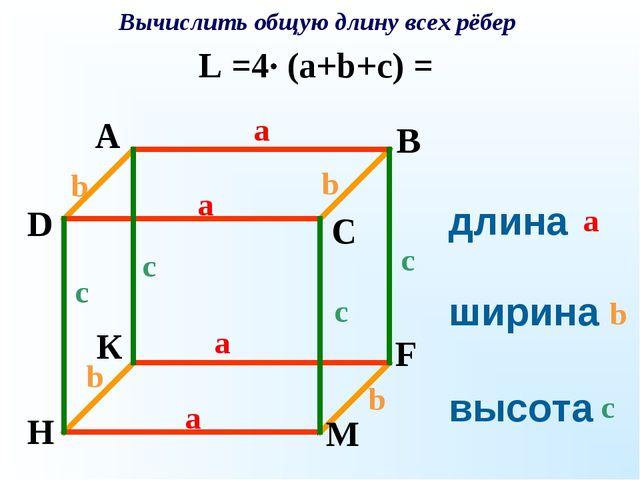 длина ширина высота Вычислить общую длину всех рёбер a a a a a b b b b b c c...