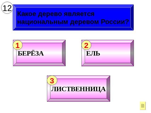 Какое дерево является национальным деревом России? 12 БЕРЁЗА 1 ЕЛЬ 2 ЛИСТВЕНН...