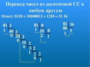Перевод чисел из десятичной СС в любую другую 81 2 2 1 2 2 2 40 20 10 5 2 1 0