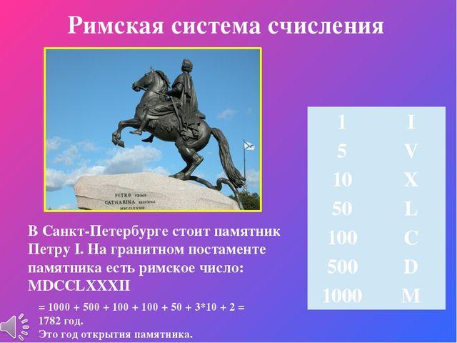 Римская система счисления В Санкт-Петербурге стоит памятник Петру I. На грани...
