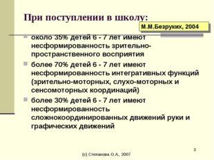 (с) Степанова О.А., 2007 * При поступлении в школу: около 35% детей 6 - 7 лет