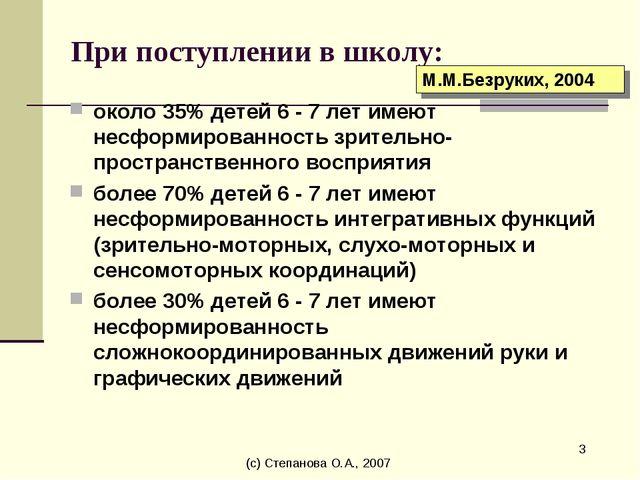 (с) Степанова О.А., 2007 * При поступлении в школу: около 35% детей 6 - 7 лет...