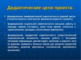 Дидактические цели проекта: формирование коммуникативной компетентности (умен