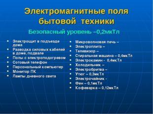 Электромагнитные поля бытовой техники Микроволновая печь – Электроплита – Тел