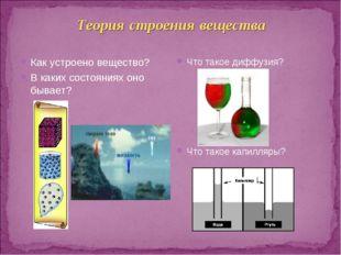 Теория строения вещества Как устроено вещество? В каких состояниях оно бывает