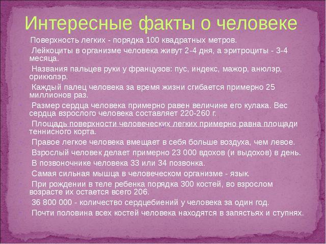 Интересные факты о человеке Поверхность легких - порядка 100 квадратных метро...