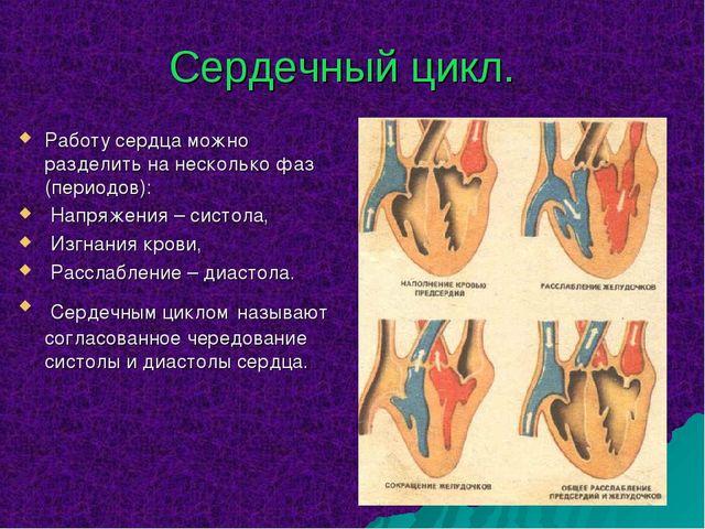 Сердечный цикл. Работу сердца можно разделить на несколько фаз (периодов): На...
