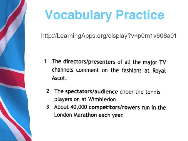 Vocabulary Practice http://LearningApps.org/display?v=p0m1v608a01