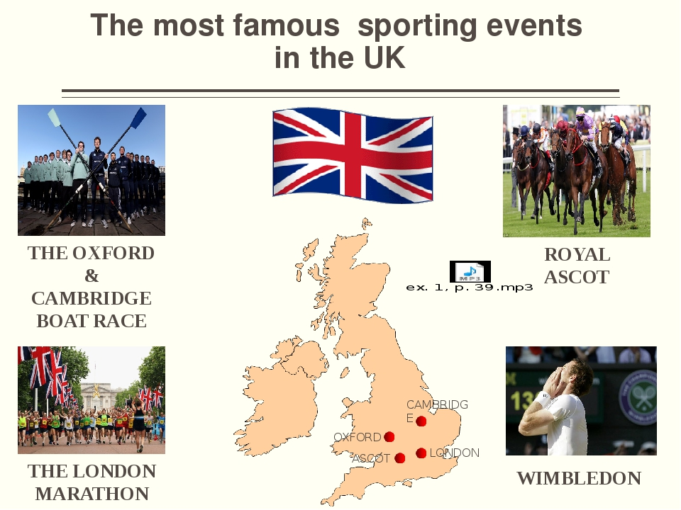 The most famous sporting events in the UK THE OXFORD & CAMBRIDGE BOAT RACE TH...