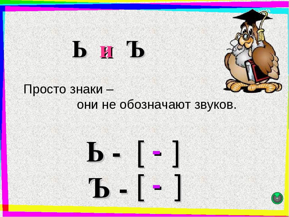 Ь и Ъ Просто знаки – они не обозначают звуков. - [ ] Ь - Ъ - [ ] -