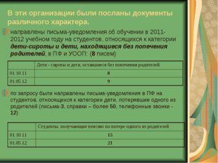В эти организации были посланы документы различного характера. направлены пис