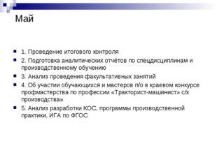 Май 1. Проведение итогового контроля 2. Подготовка аналитических отчётов по с