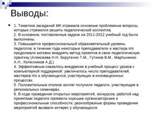 Выводы: 1. Тематика заседаний МК отражала основные проблемные вопросы, которы