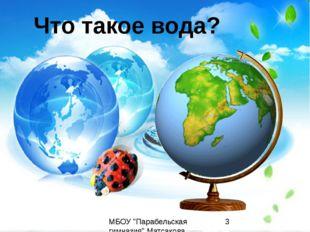 """Что такое вода? МБОУ """"Парабельская гимназия"""" Матсакова Светлана Васильевна"""