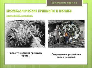 """Выполнение проекта Рытьё туннелей по принципу """"крота"""". Современные устройства"""