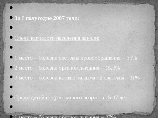 За I полугодие 2007 года:  Среди взрослого населения заняли:  1 место – бо...