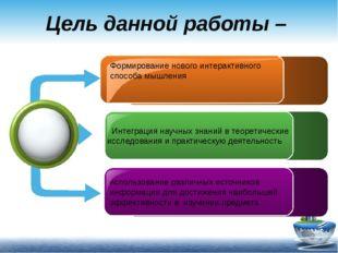 Цель данной работы – Формирование нового интерактивного способа мышления . Ин