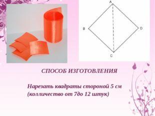 СПОСОБ ИЗГОТОВЛЕНИЯ Нарезать квадраты стороной 5 см (колличество от 7до 12 ш