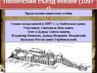 Любечский съезд князей (1097 г) Продолжение княжеских усобиц Созыв съезда кня