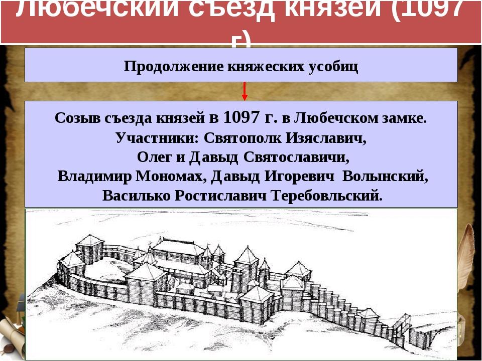 Любечский съезд князей (1097 г) Продолжение княжеских усобиц Созыв съезда кня...