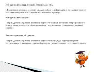 Методична тема відділу освіти Куп'янської РДА  «Формування мережної взаємод