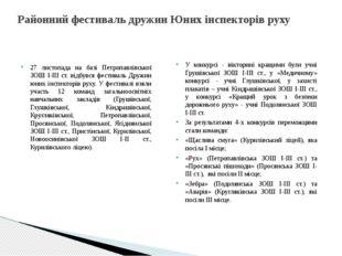 Районний фестиваль дружин Юних інспекторів руху 27 листопада на базі Петропав