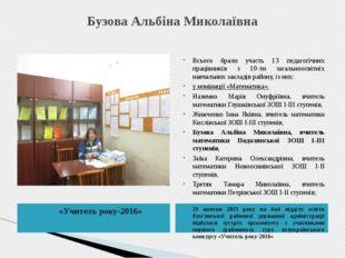 Бузова Альбіна Миколаївна «Учитель року-2016» 29 жовтня 2015 року на базі від