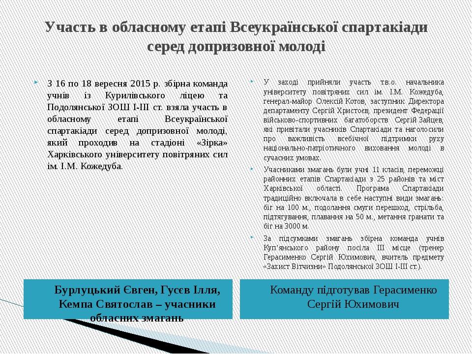 Участь в обласному етапі Всеукраїнської спартакіади серед допризовної молоді...