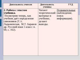 Деятельность учителяДеятельность ученика УУД 2. Работа с текстом учебника.