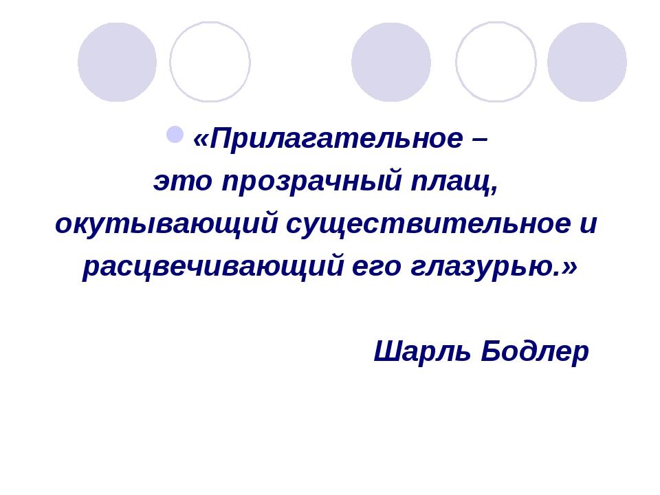 «Прилагательное – это прозрачный плащ, окутывающий существительное и расцвечи...