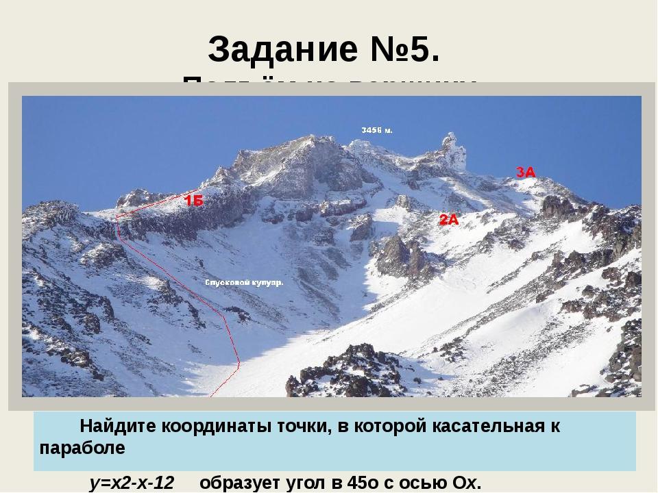 Задание №5. Подъём на вершину Найдите координаты точки, в которой касательная...