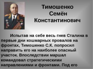 Тимошенко Семён Константинович Испытав на себе весь гнев Сталина в первые дн