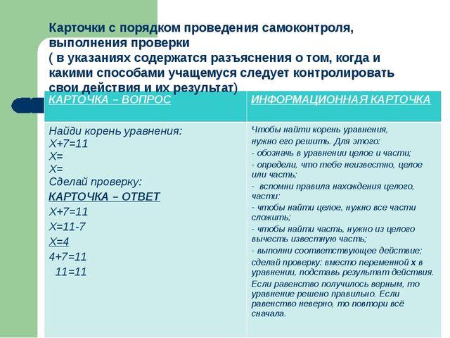 Карточки с порядком проведения самоконтроля, выполнения проверки ( в указа...