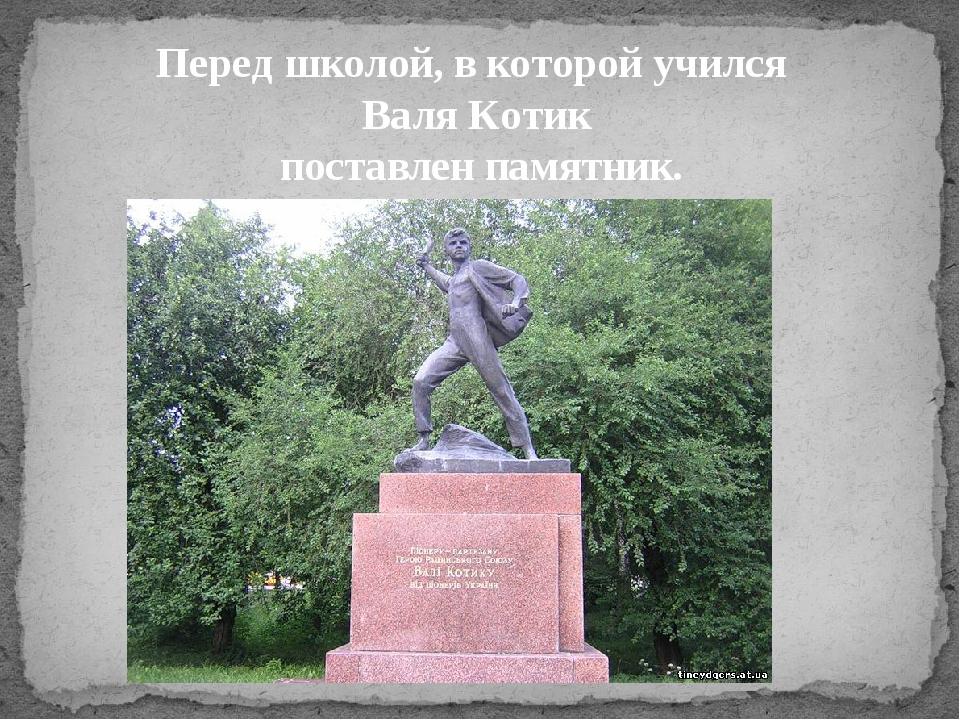 Перед школой, в которой учился Валя Котик поставлен памятник.