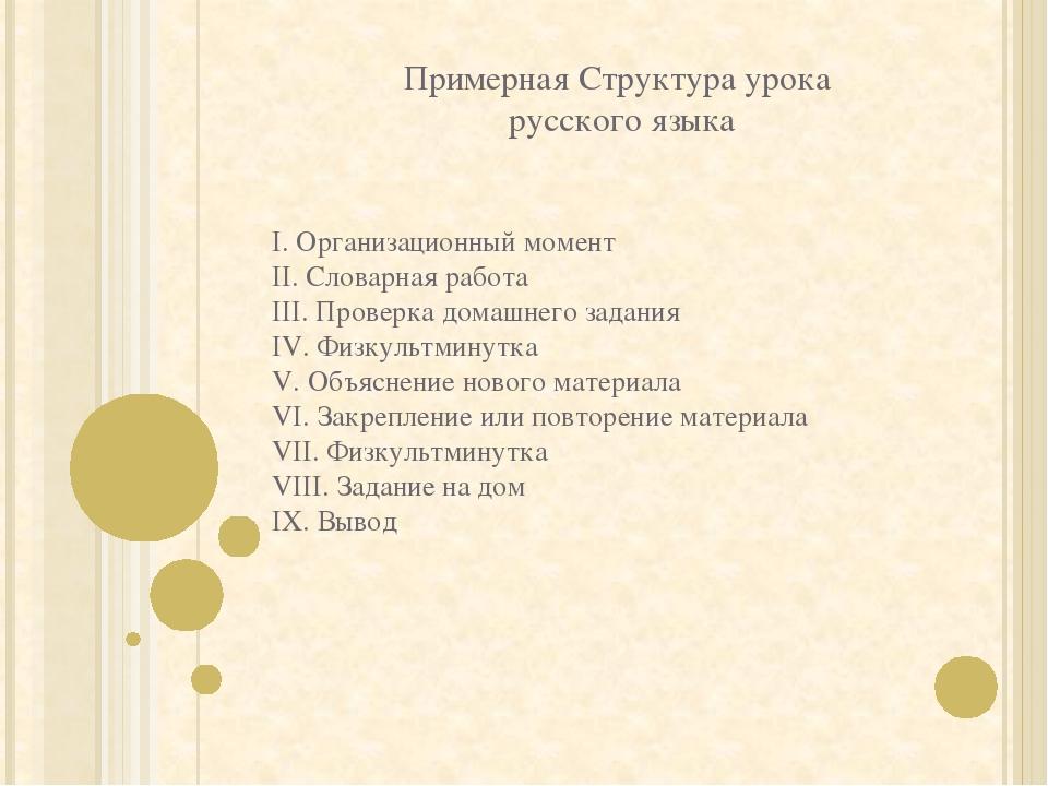 Примерная Структура урока русского языка I. Организационный момент II. Словар...