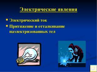 Электрические явления Электрический ток Притяжение и отталкивание наэлектризо