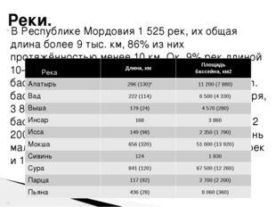 В Республике Мордовия 1 525 рек, их общая длина более 9 тыс. км, 86% из них п
