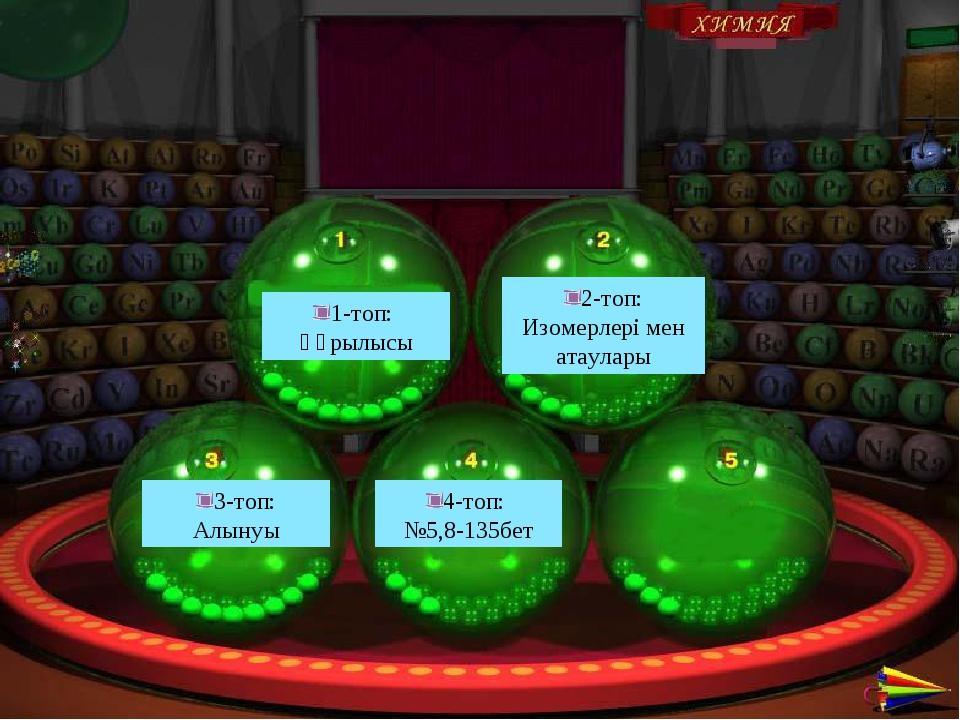 1-топ: Құрылысы 2-топ: Изомерлері мен атаулары 3-топ: Алынуы 4-топ: №5,8-135бет