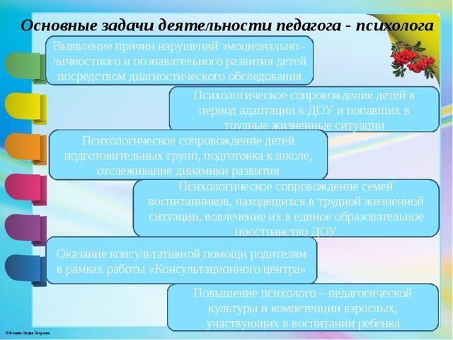 Основные задачи деятельности педагога - психолога Выявление причин нарушений...