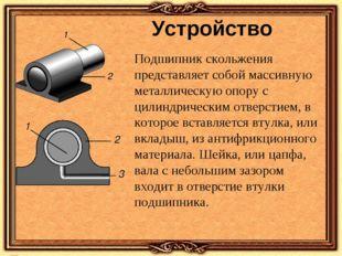 Устройство Подшипник скольжения представляет собой массивную металлическую оп