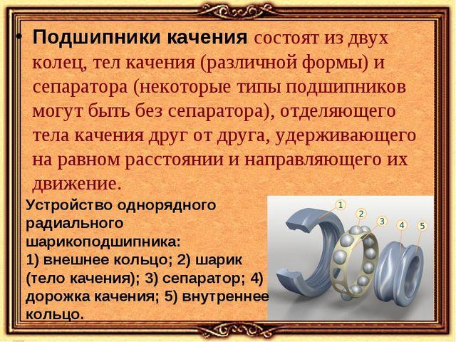 Подшипники качения состоят из двух колец, тел качения (различной формы) и сеп...