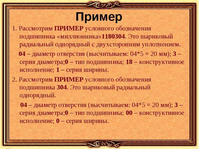 Пример 1. РассмотримПРИМЕРусловного обозначения подшипника «миллионника»118...
