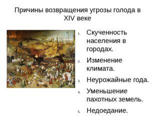 Причины возвращения угрозы голода в XIV веке Скученность населения в городах.